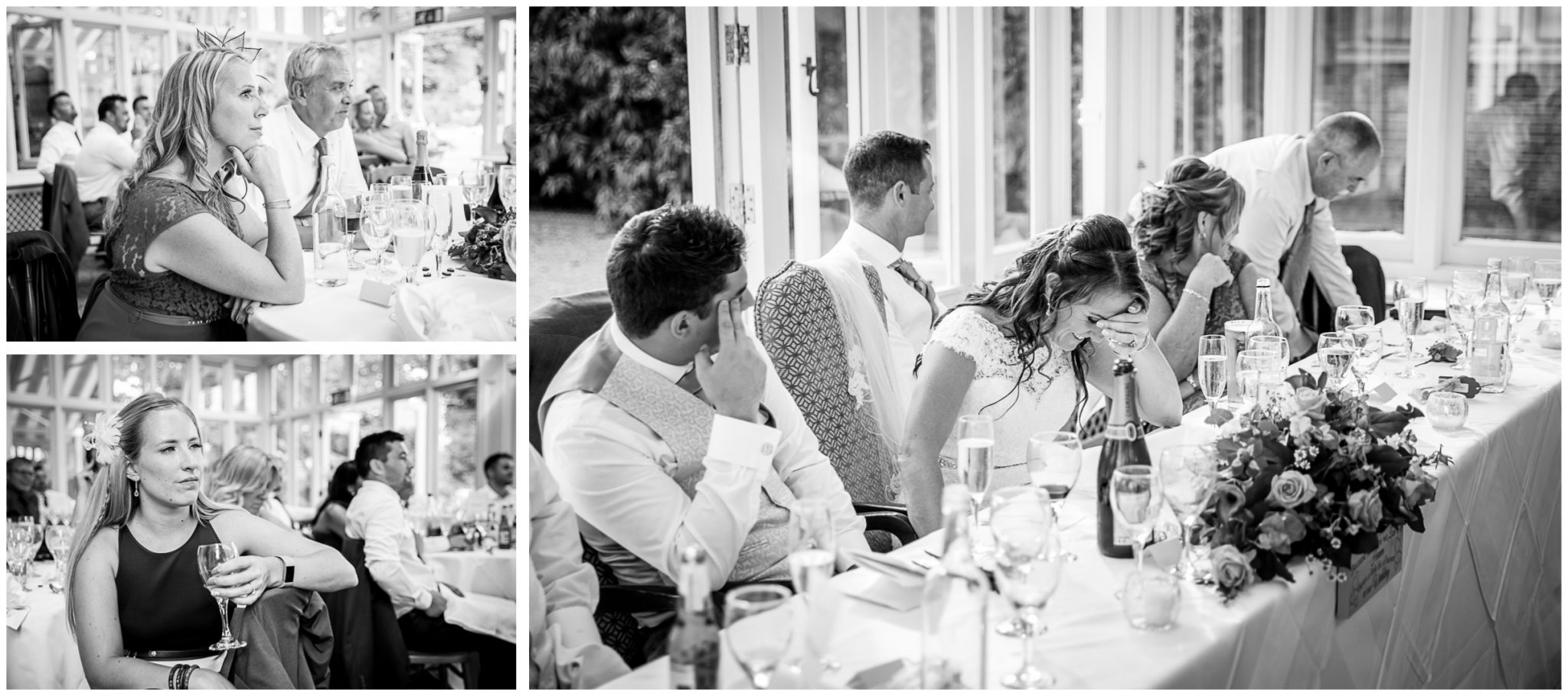 Guests watching speeches and bride laughing at the Elvetham Hotel