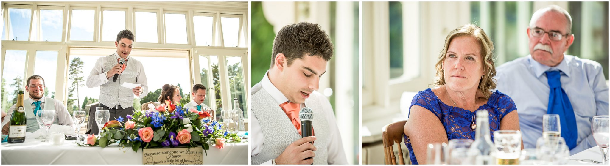 The groom gives his wedding speech in the conservatory at the Elvetham