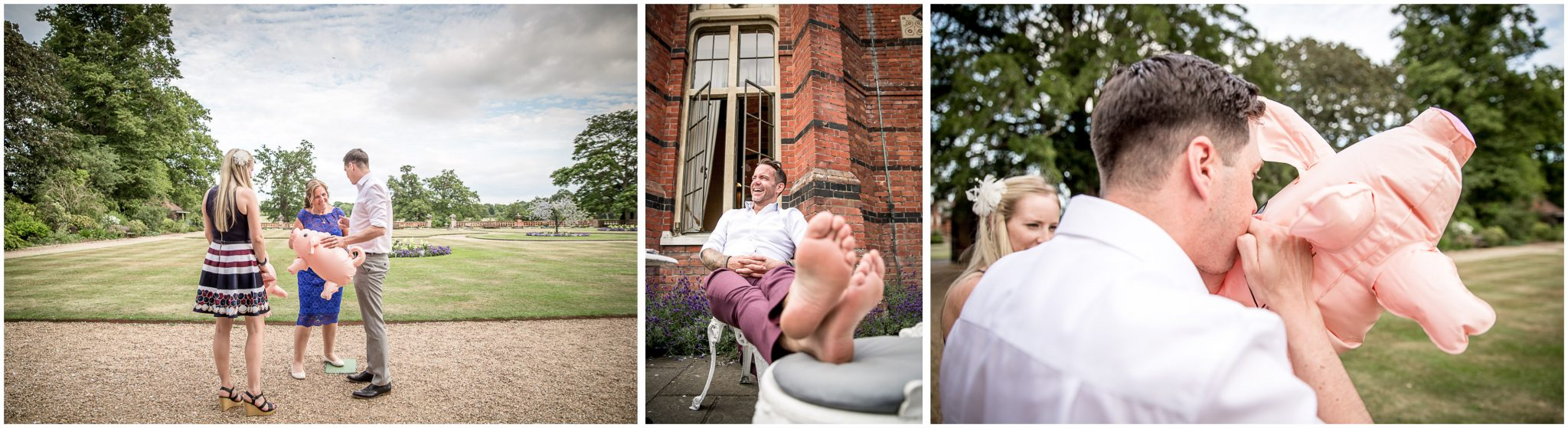 Wedding guests with inflatable pig in gardens of The Elvetham Hotel