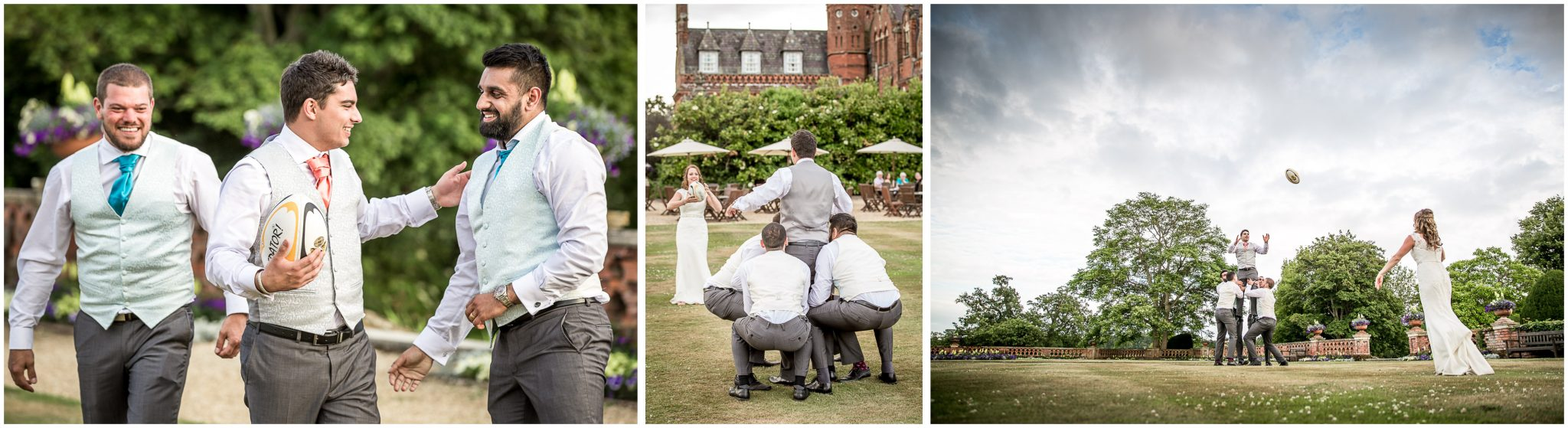 Rugby couple bride and groom at the Elvetham