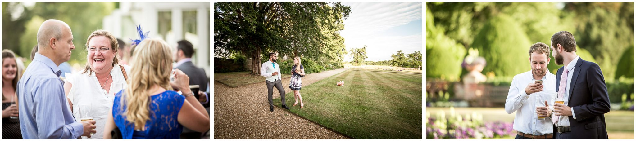 Guests relax in the grounds of the Elvetham wedding venue after the wedding breakfast