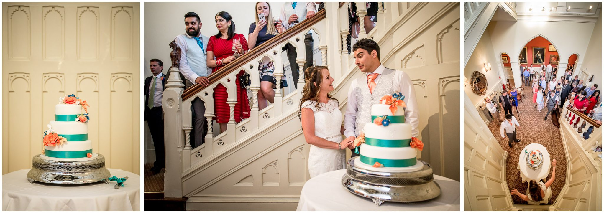Cutting the cake, with view from above on staircase