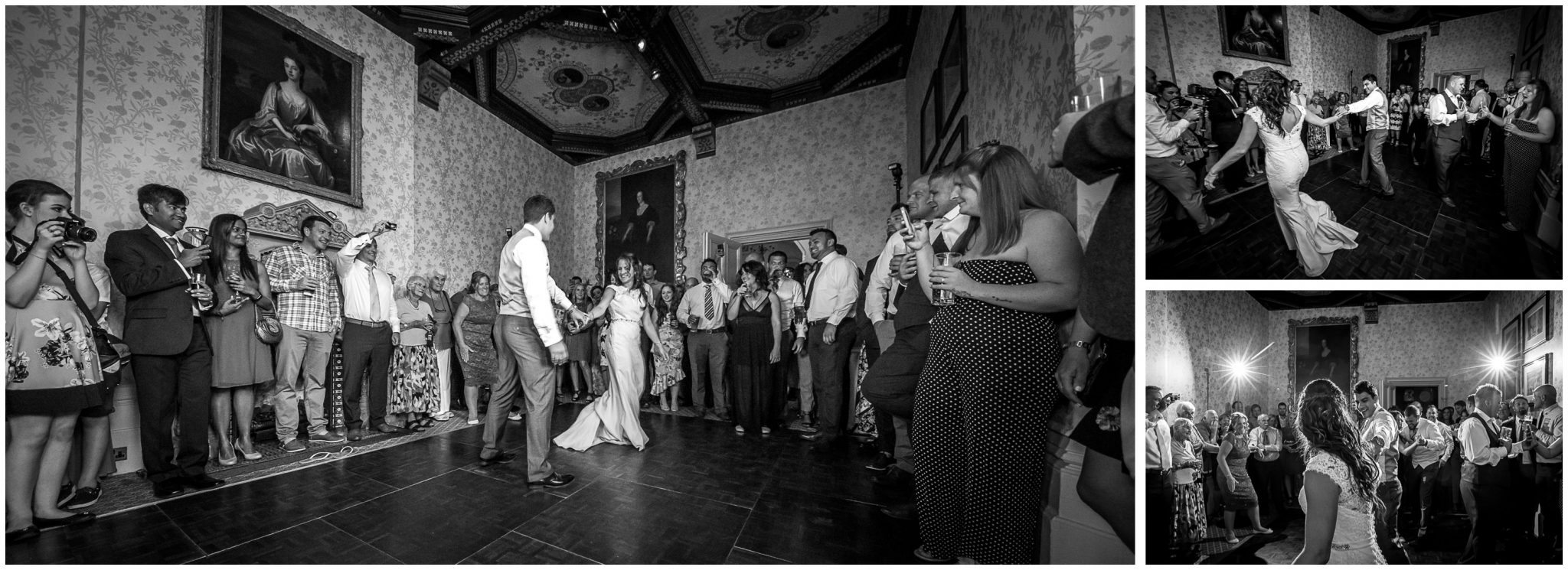 Black and white images of first dance