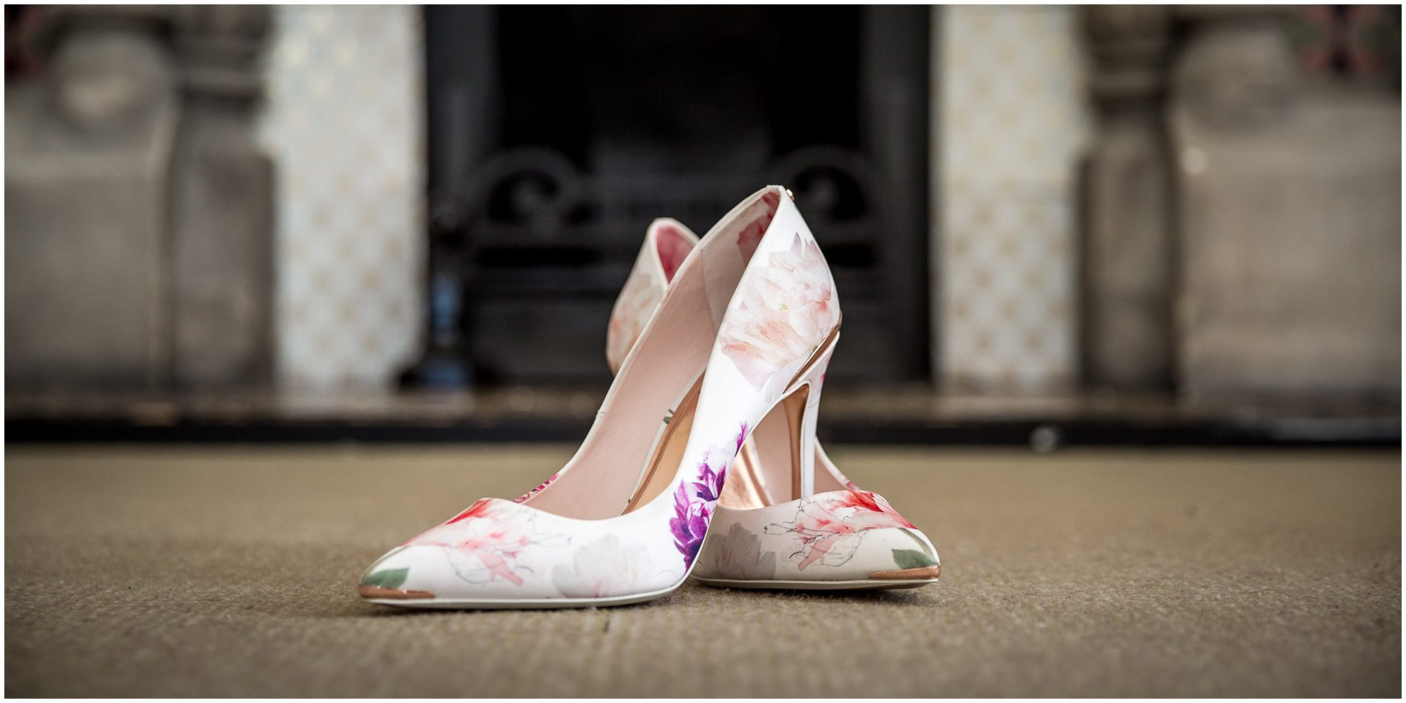Colourful, floral patterned wedding shoes