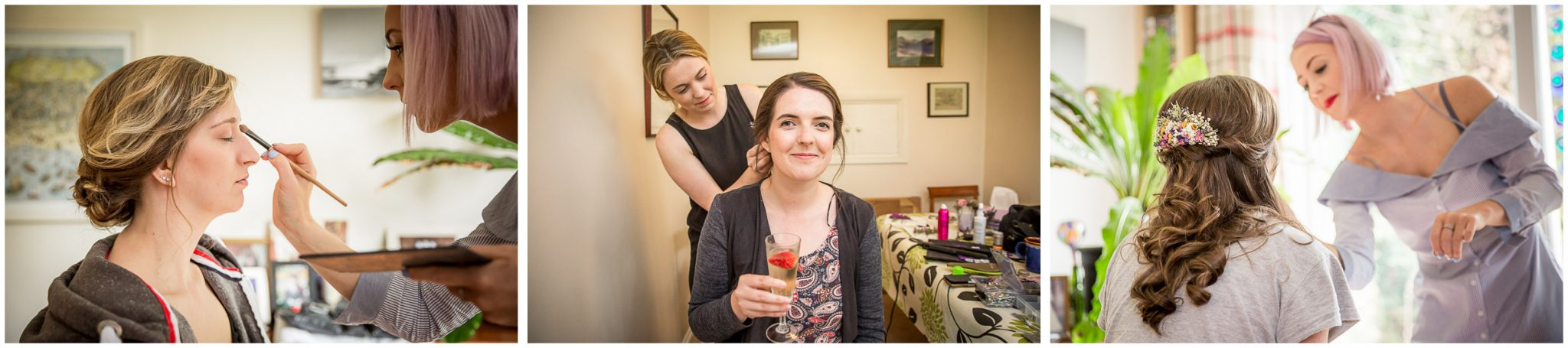 Timsbury Manor Festival Wedding bridesmaids getting ready hair and makeup