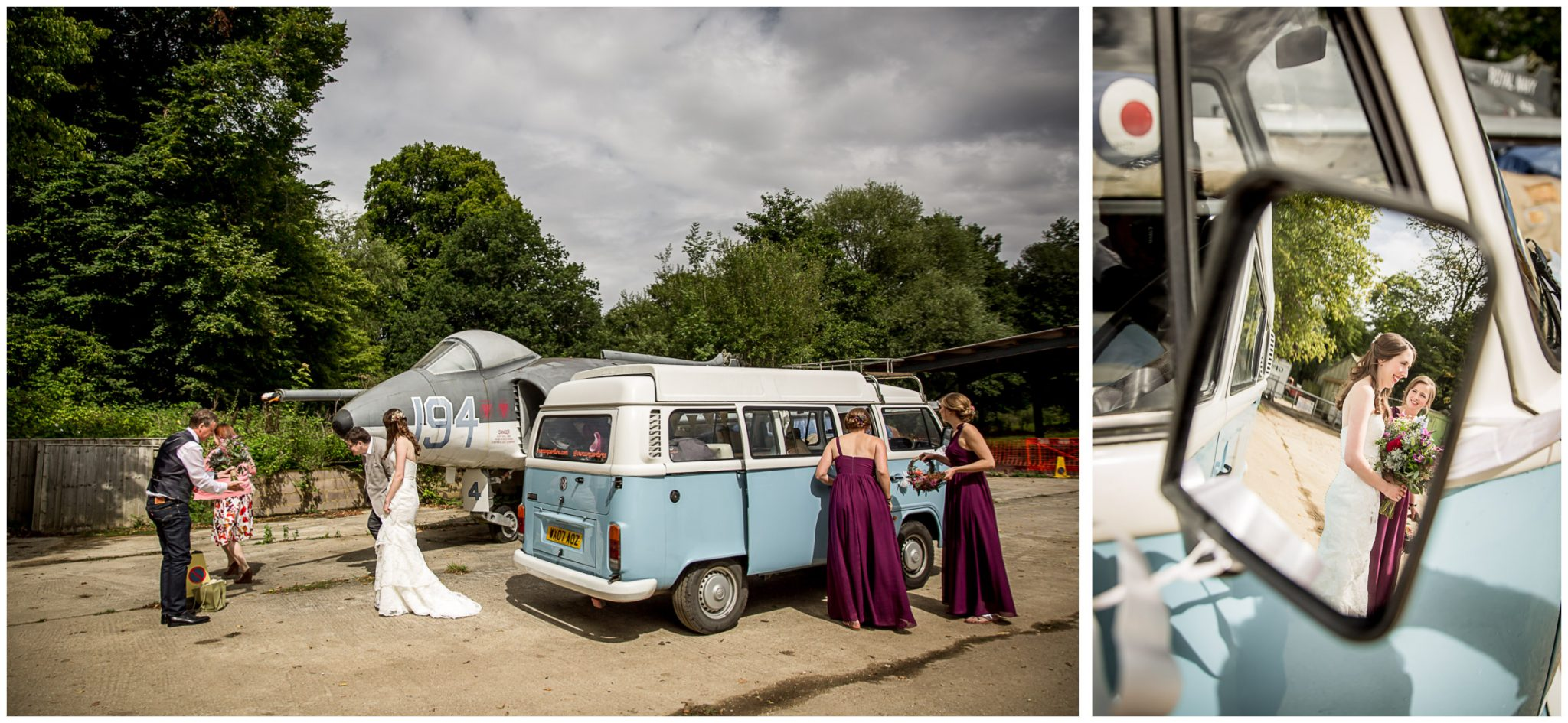 Timsbury Manor Festival Wedding bride arrives in VW camper van
