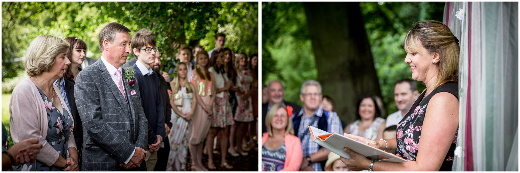 Timsbury Manor Festival Wedding family watch as celebrant leads ceremony