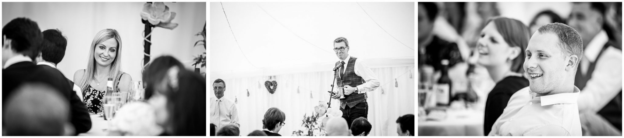 Timsbury Manor Festival Wedding guests watch wedding speeches