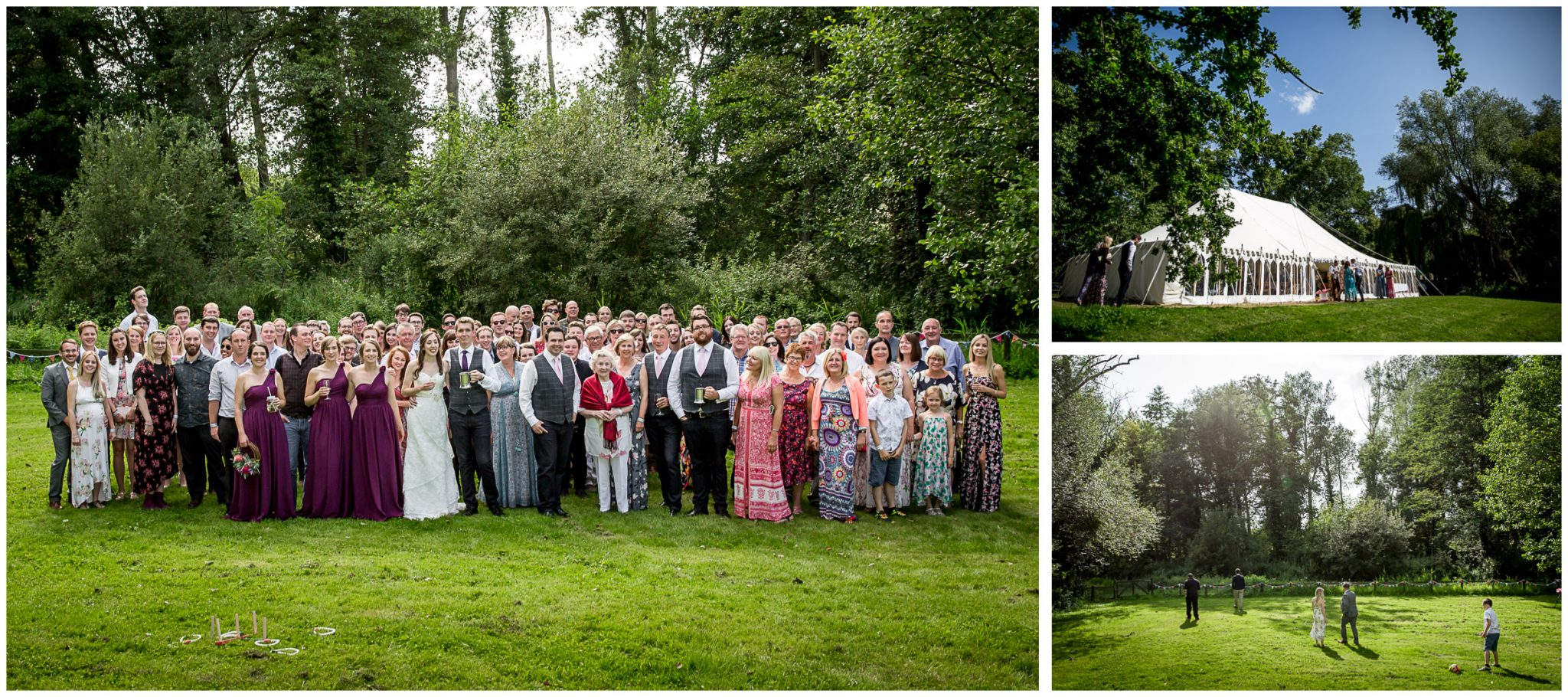 Timsbury Manor Festival Wedding group photos of all guests outside