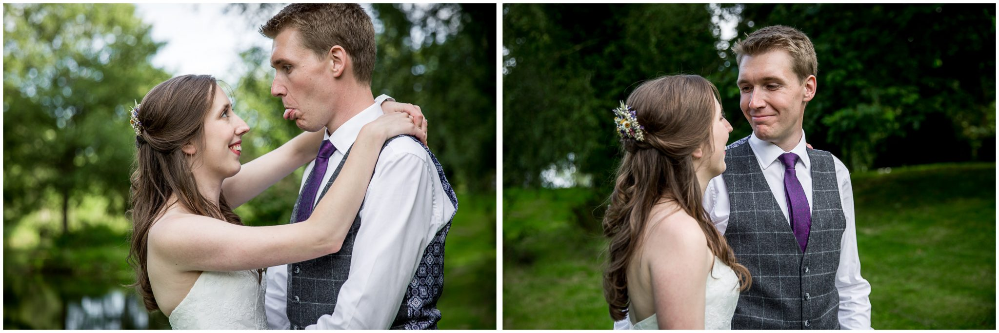 Timsbury Manor Festival Wedding bride and groom portraits by lake