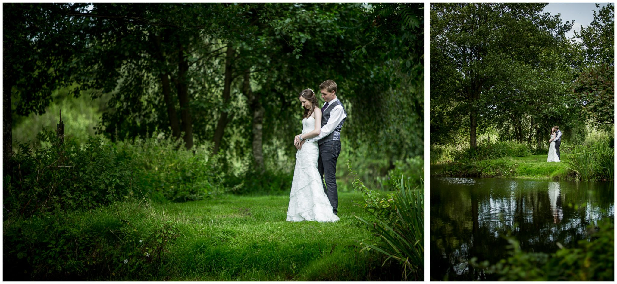 Timsbury Manor Festival Wedding bride and groom portraits in grounds of estate