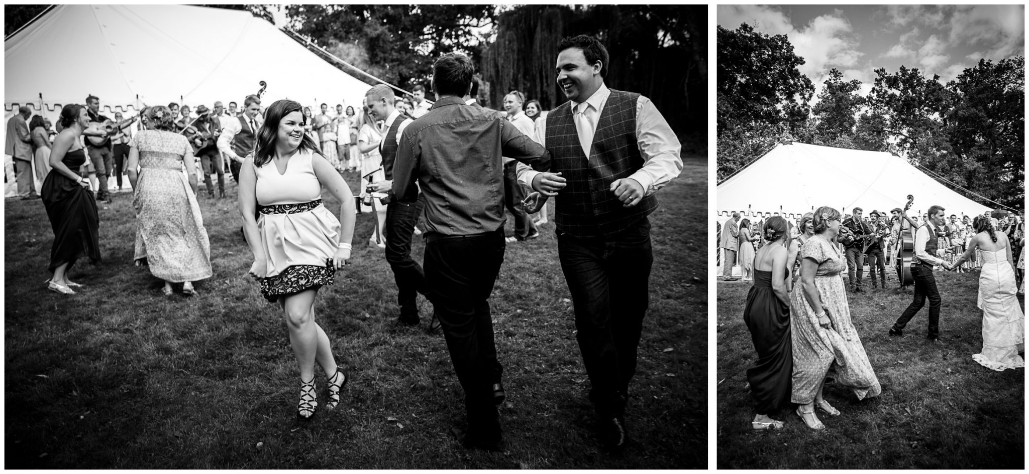 Timsbury Manor Festival Wedding guests dancing to band