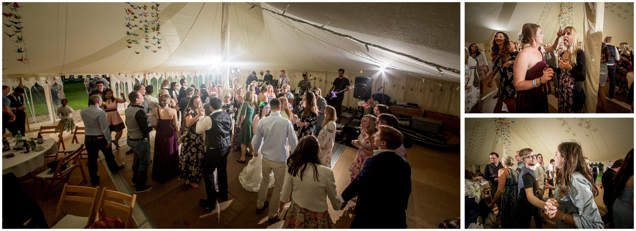 Timsbury Manor Festival Wedding dancing to band in marquee