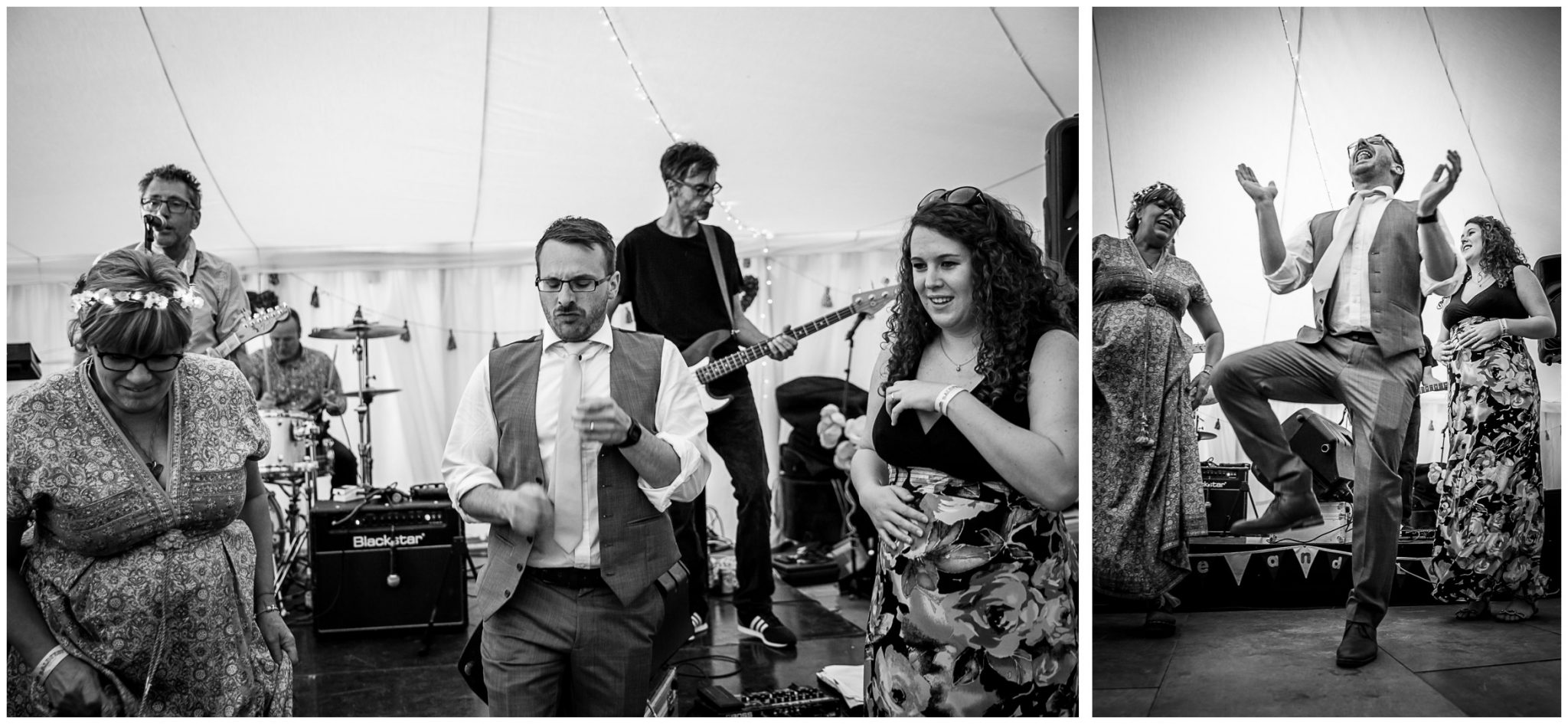 Timsbury Manor Festival Wedding guests on the dancefloor