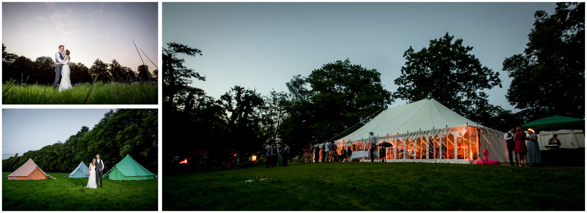 Timsbury Manor Festival Wedding marquee exterior in evening light