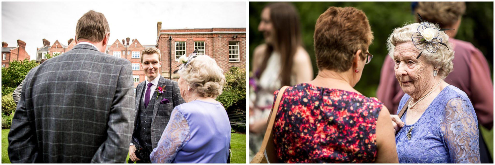 Portsmouth Registry Office wedding wedding guests in garden