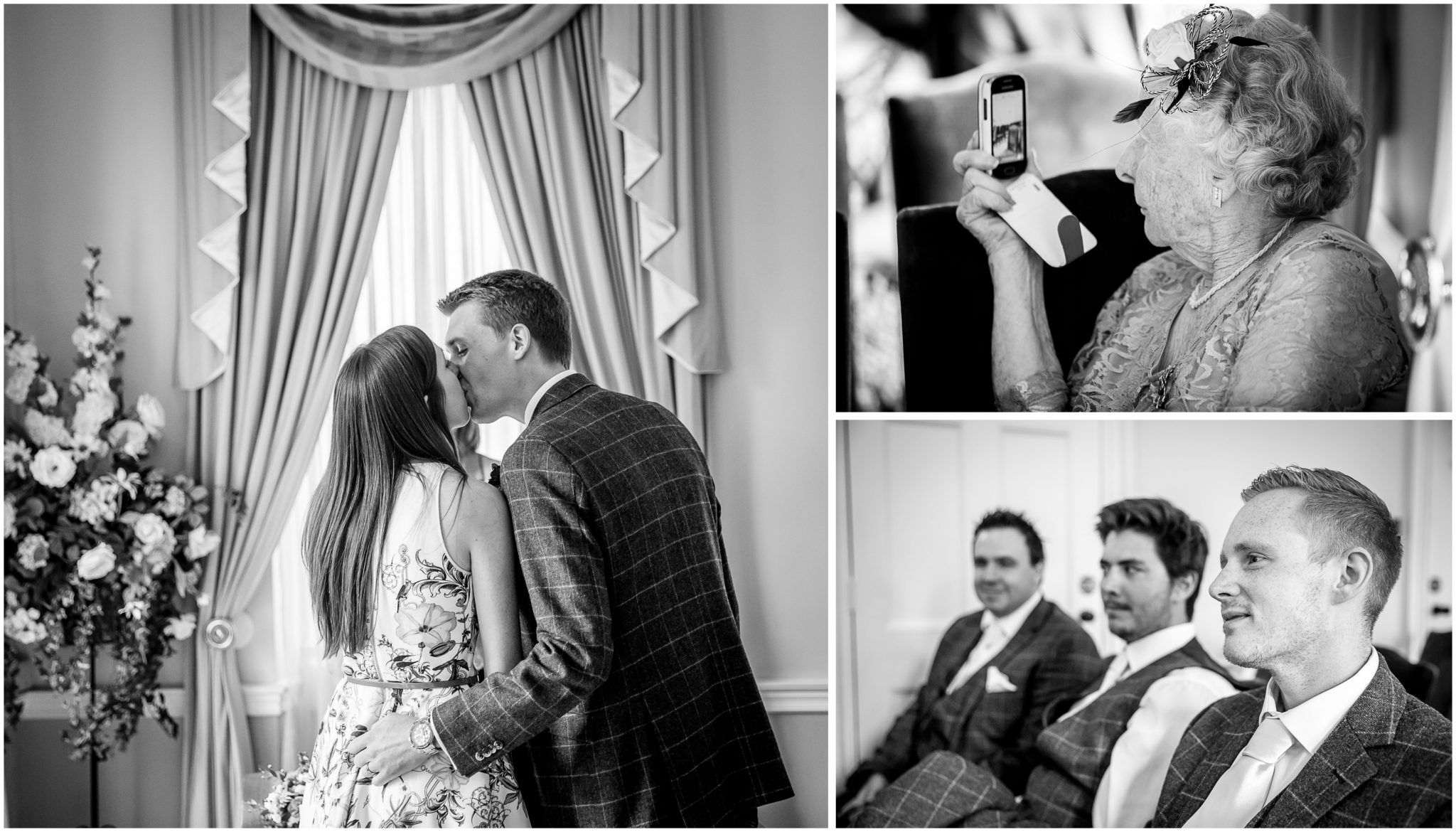 Portsmouth Registry Office wedding first kiss as husband and wife