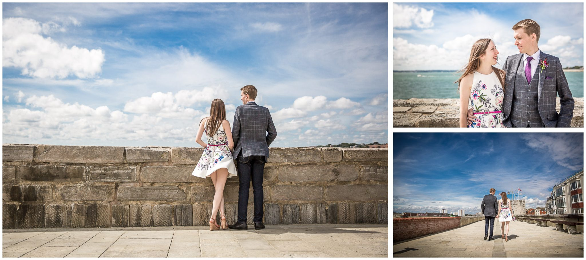 Portsmouth Registry Office wedding bride and groom portraits on waterfront