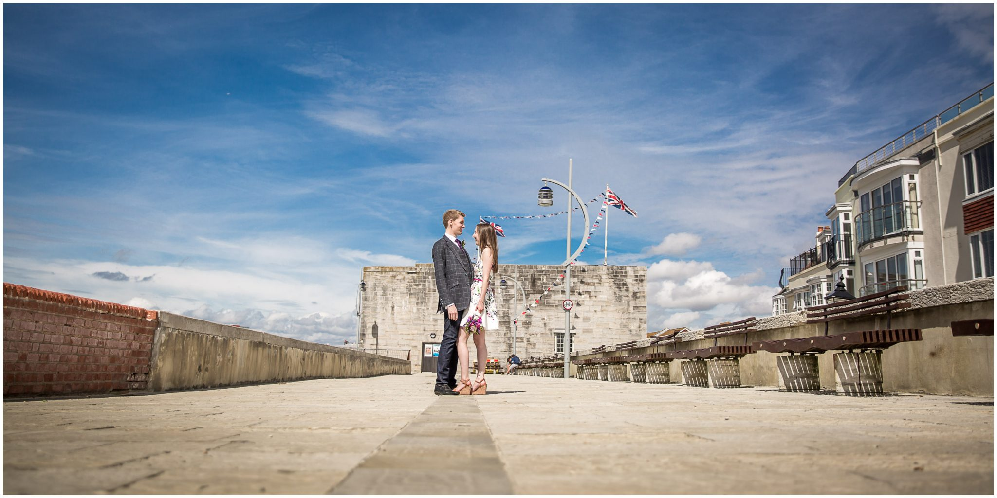 Portsmouth Registry Office wedding couple portrait outside castle