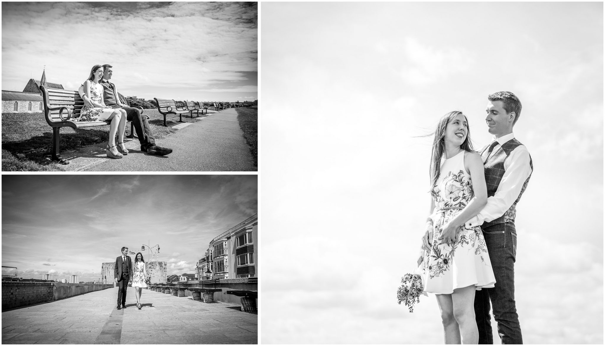Portsmouth Registry Office wedding black and white couple portraits