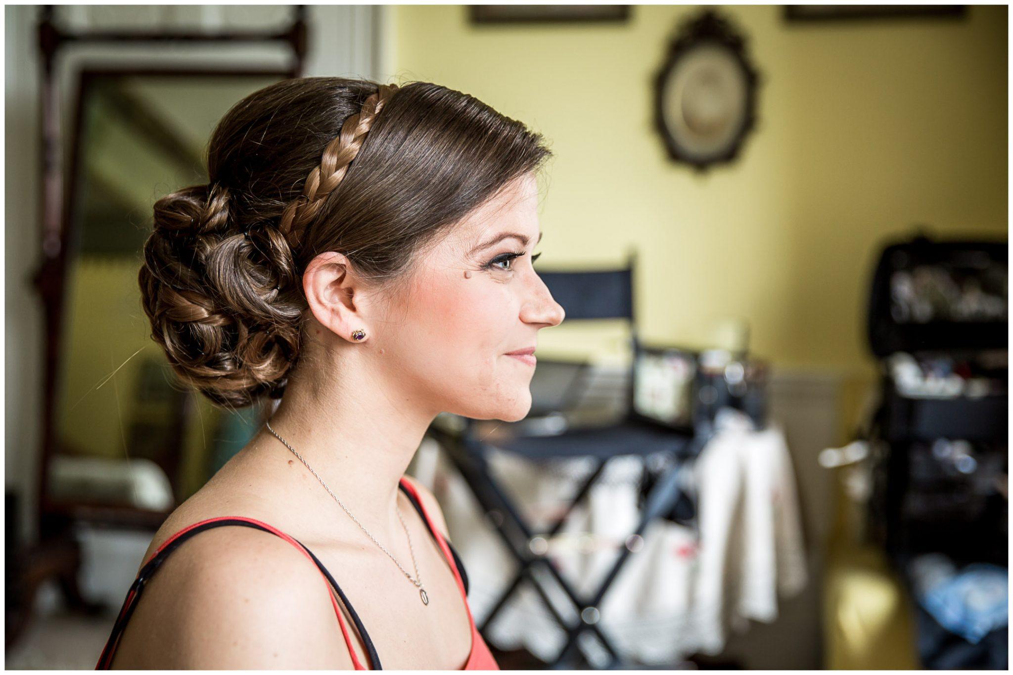 Avington Park wedding photography bridal preparation in dressing room