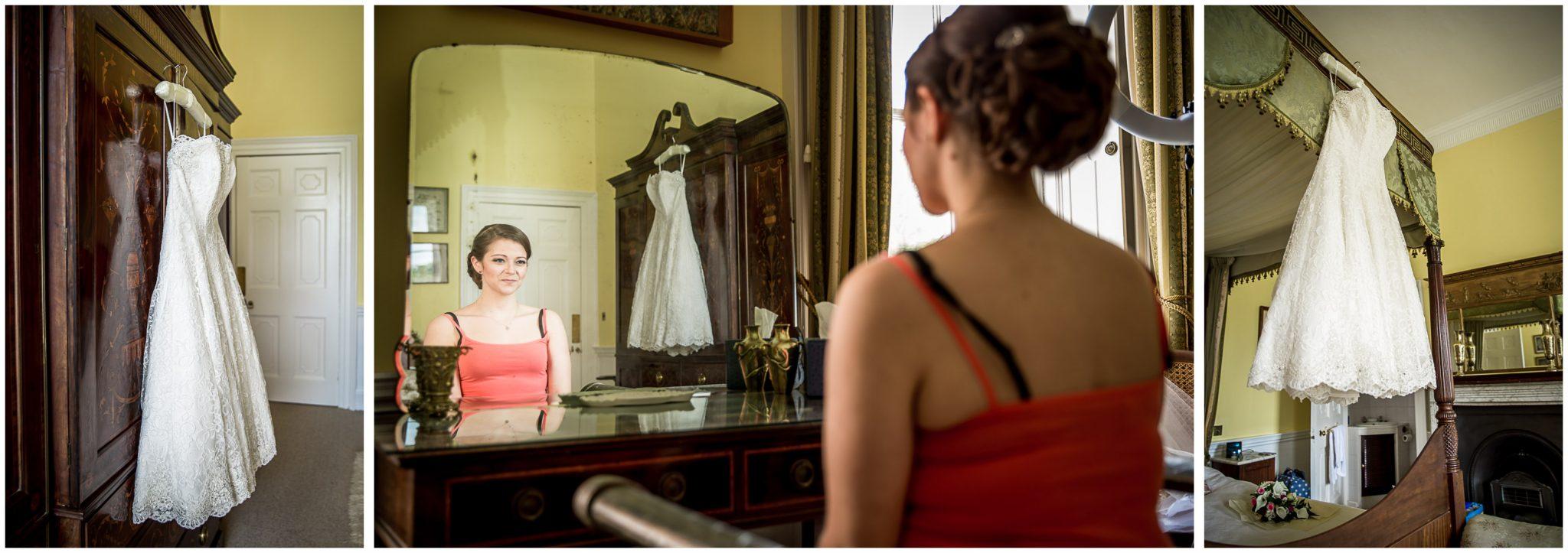 Avington Park wedding photography dress hanging