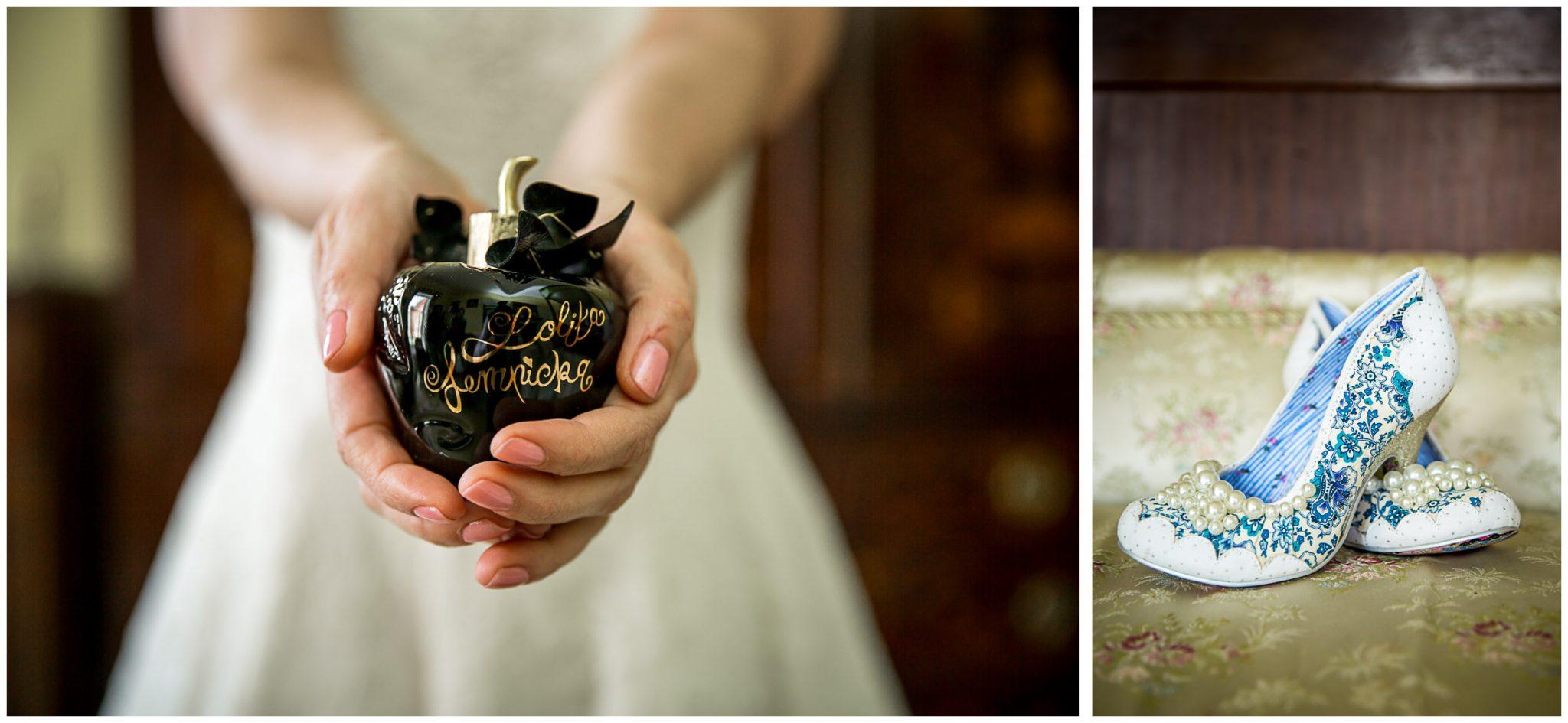 Avington Park wedding photography perfume and shoe detail shots