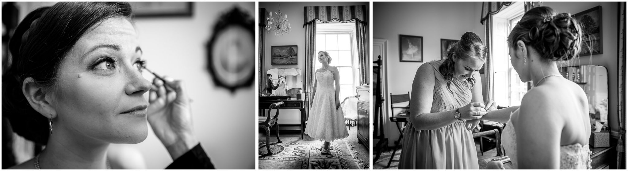 Avington Park wedding photography bride getting ready black and white