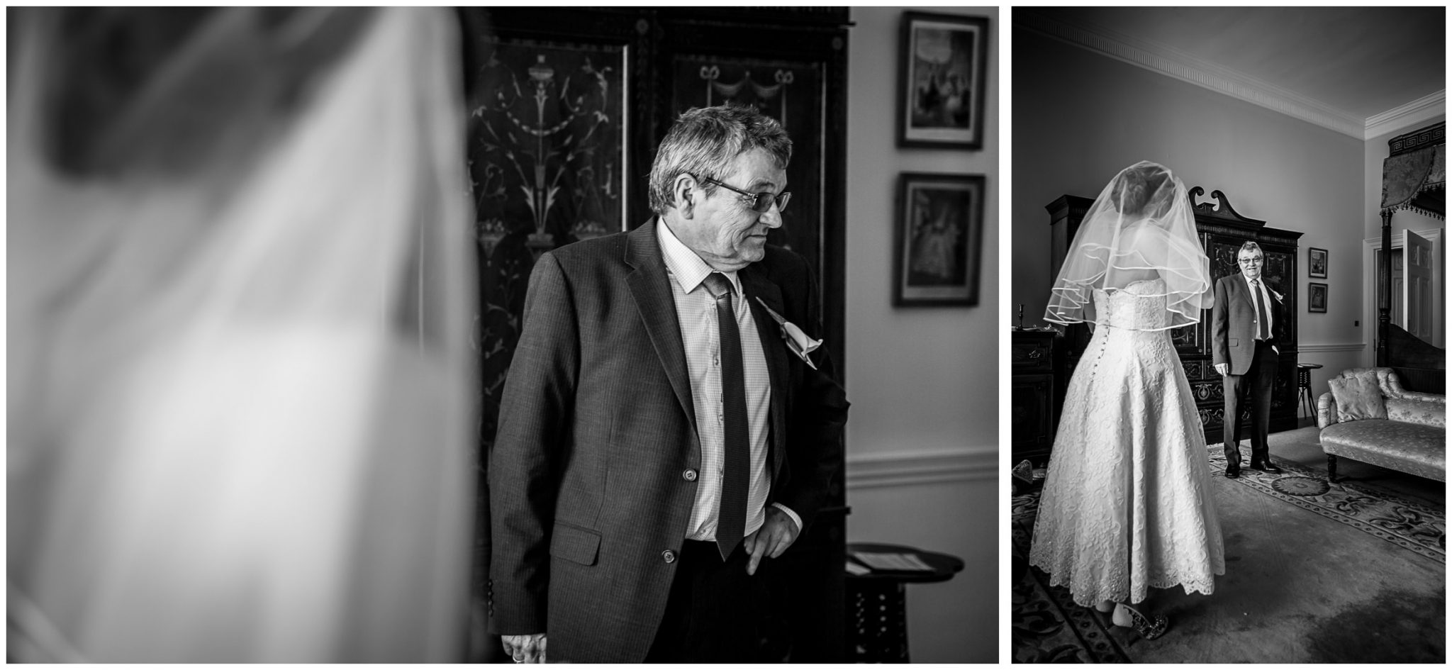 Avington Park wedding photography father daughter first look