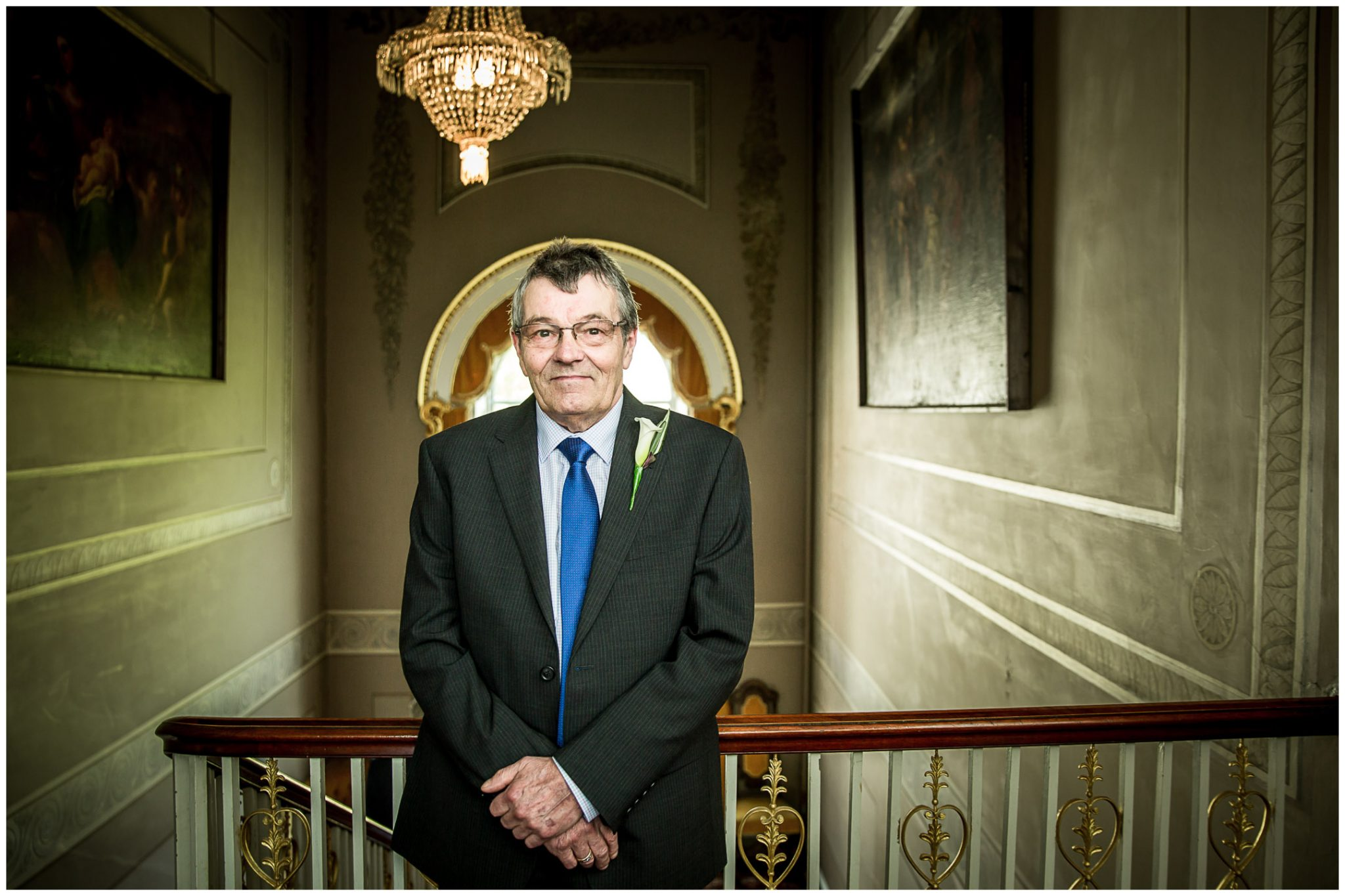 Avington Park wedding photography father of the bride waits for daughter before ceremony