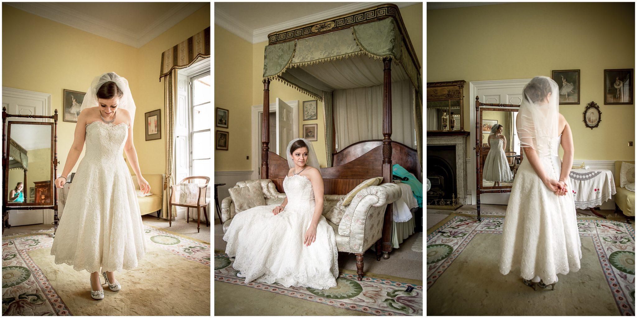 Avington Park wedding photography bridal portraits before ceremony