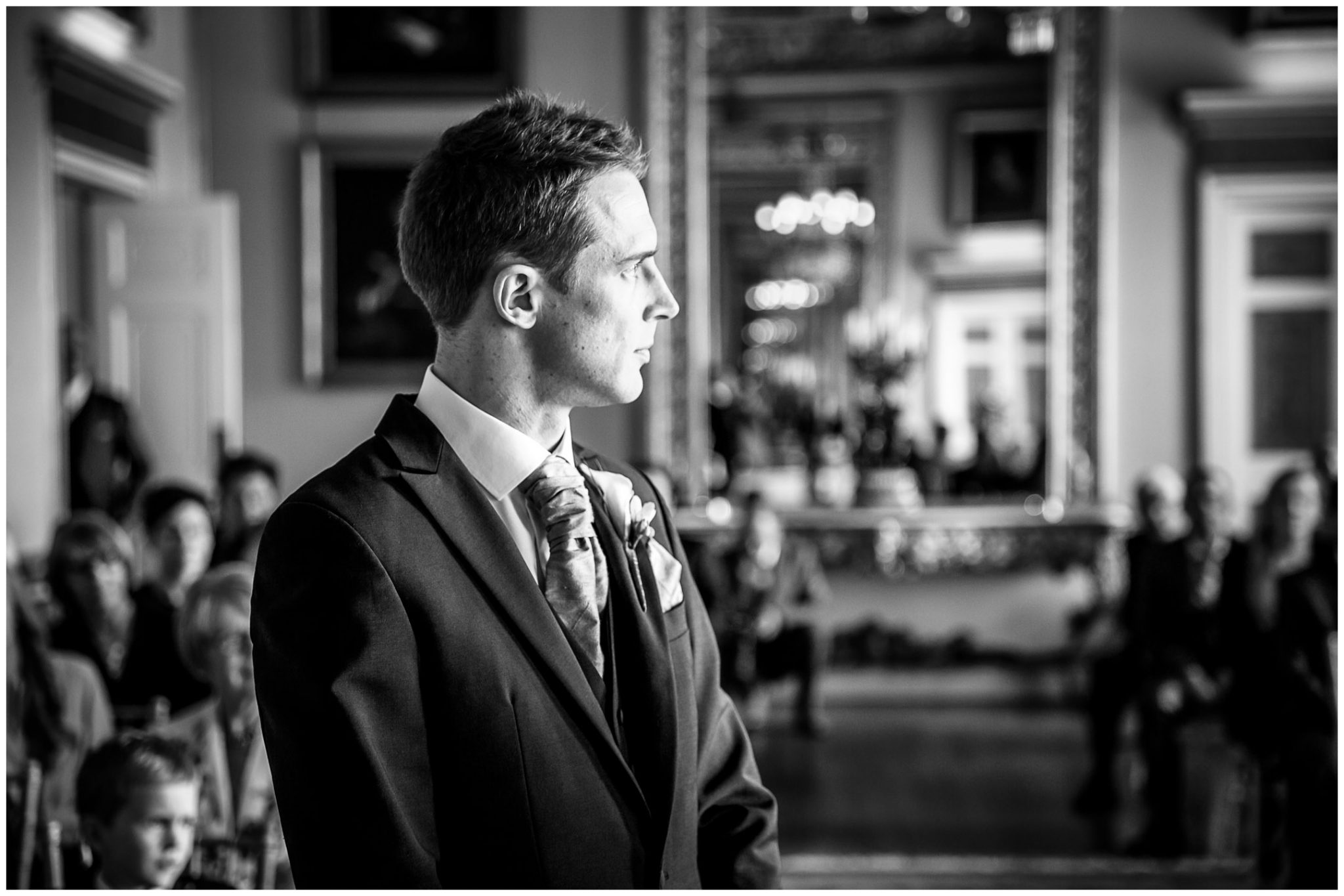 Avington Park wedding photography groom waiting for bride to arrive