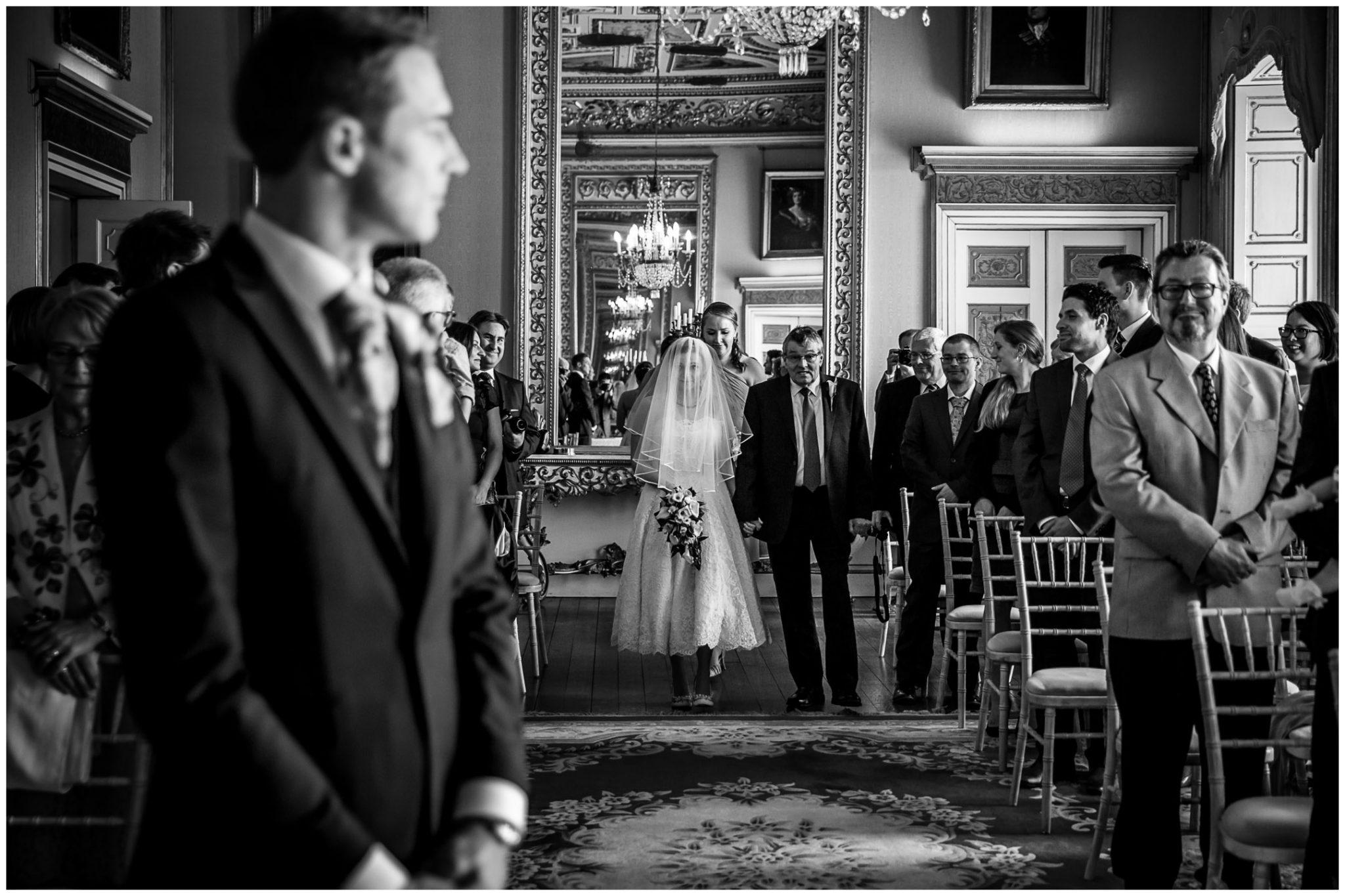 Avington Park wedding photography bride walks down the aisle
