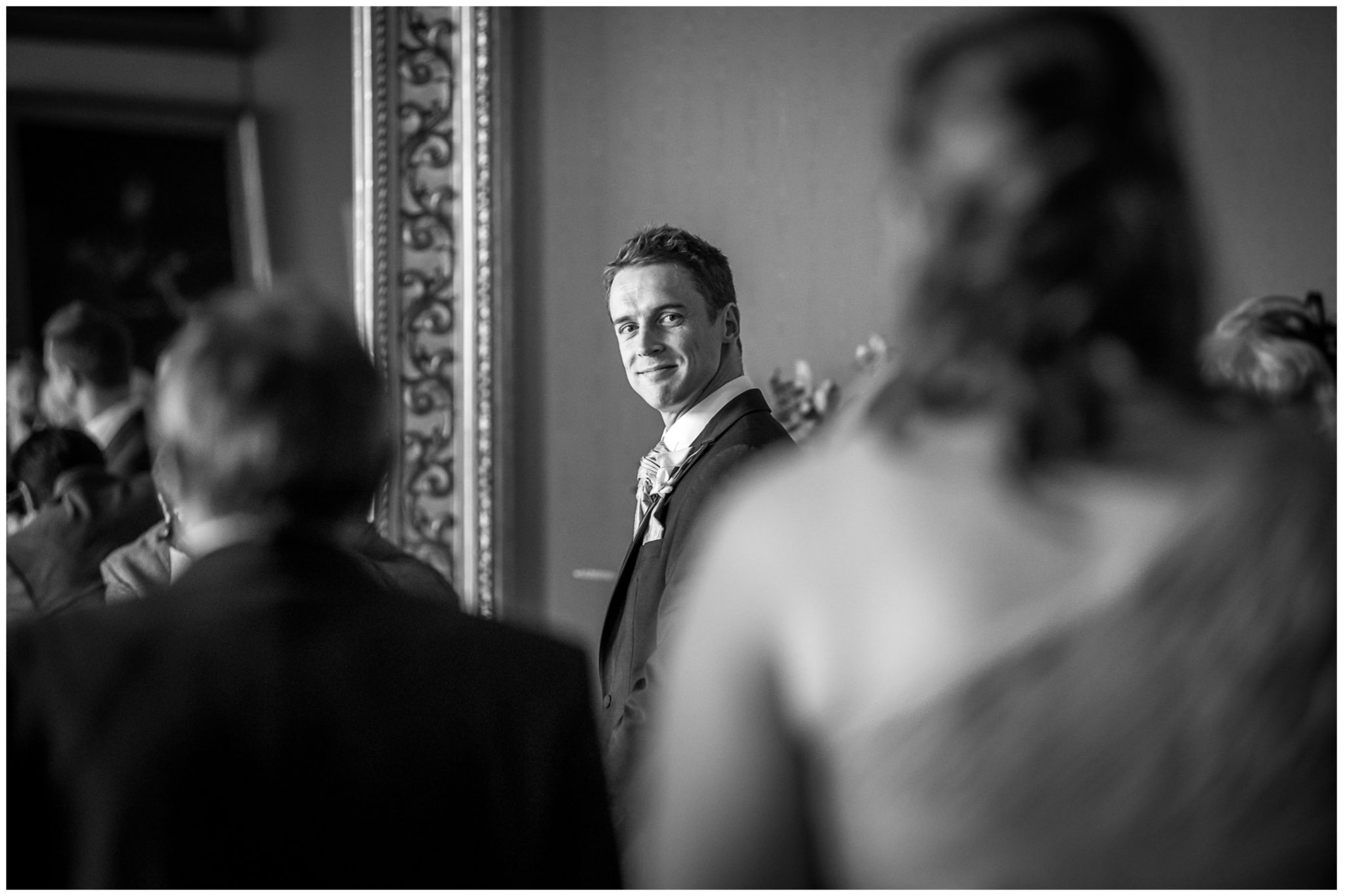 Avington Park wedding photography groom sees bride for first time