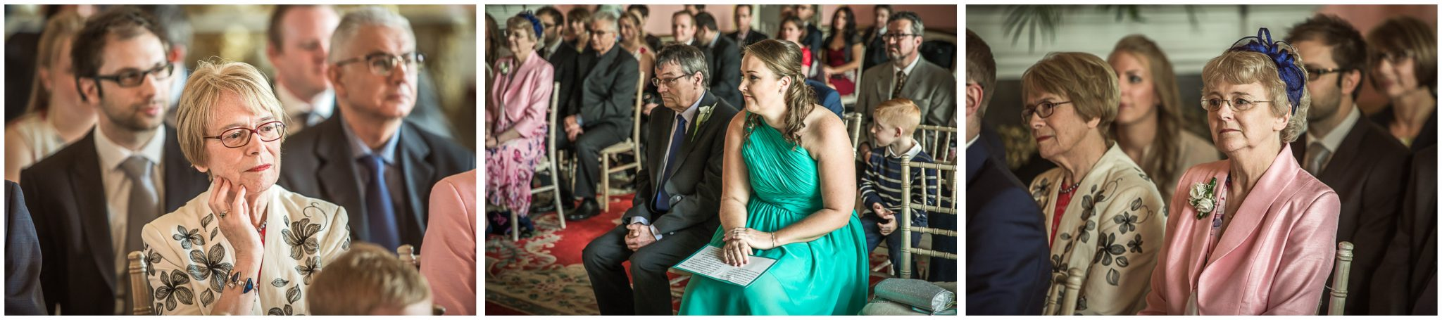 Avington Park wedding photography guests watching ceremony