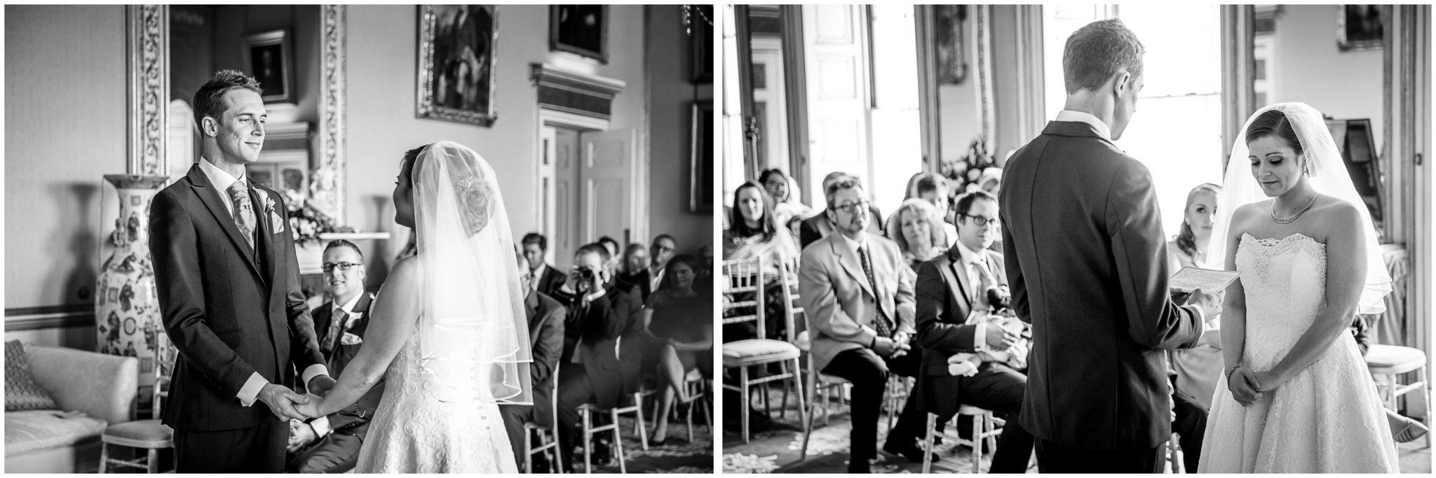 Avington Park wedding photography couple make their marriage vows