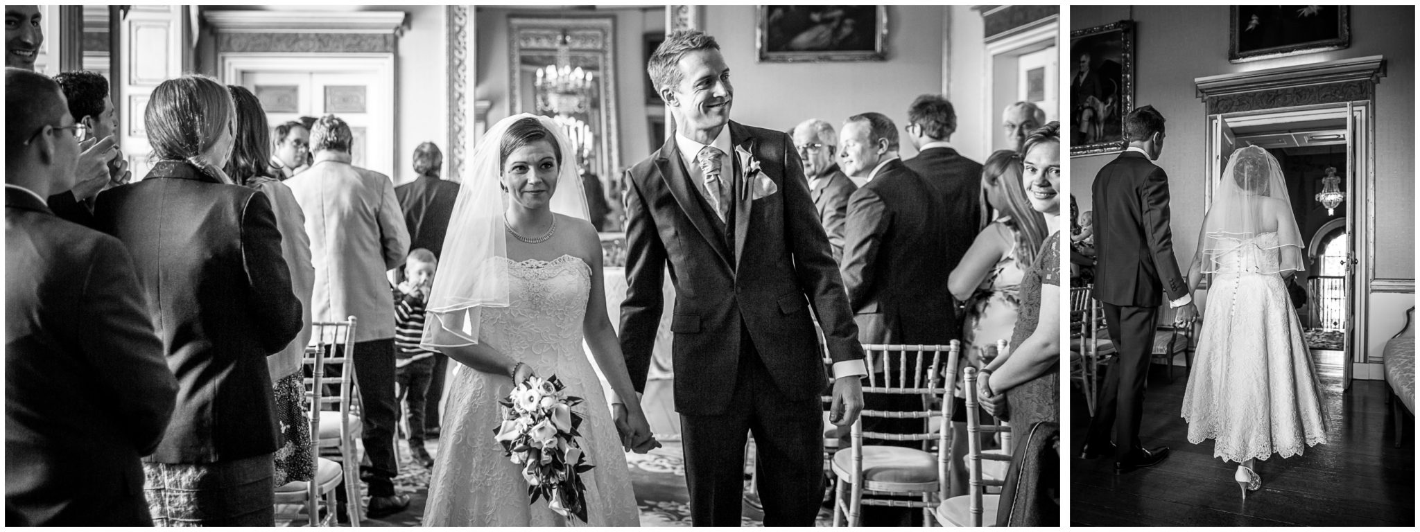 Avington Park wedding photography couple exit the ceremony room