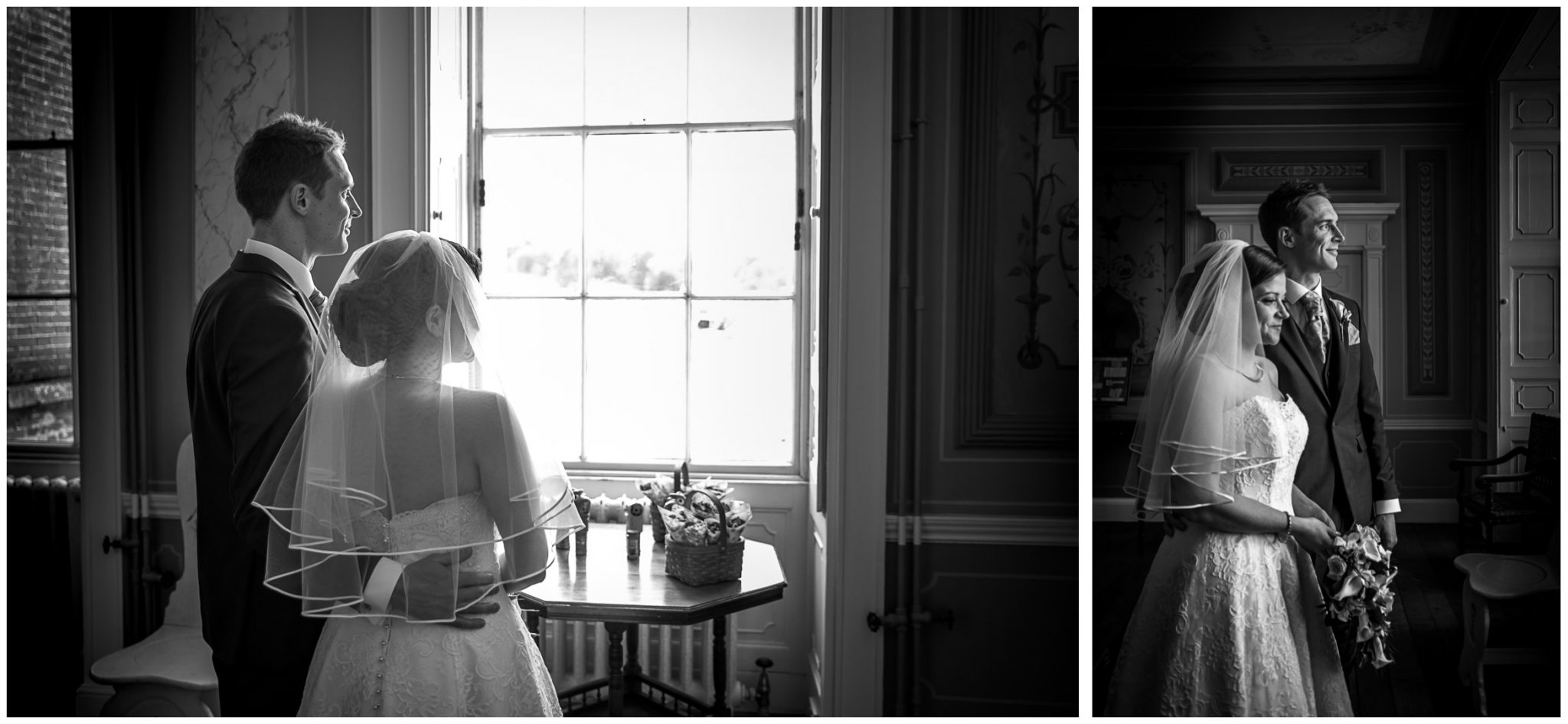 Avington Park wedding photography couple looking out of window