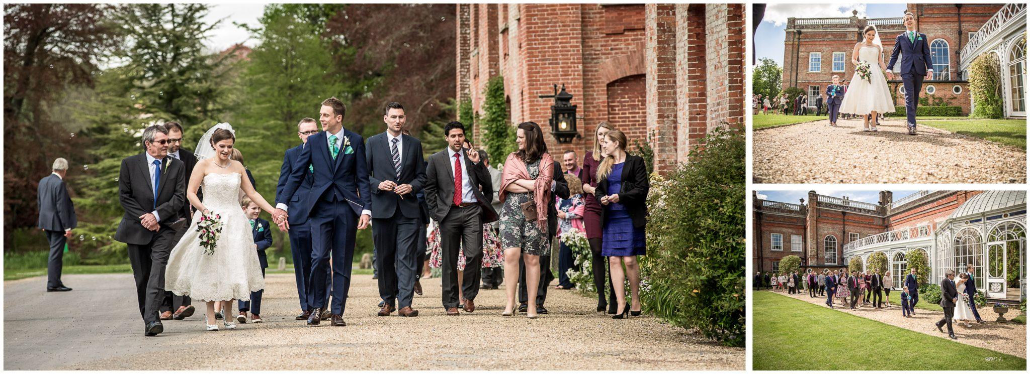 Avington Park wedding photography couple heading to reception
