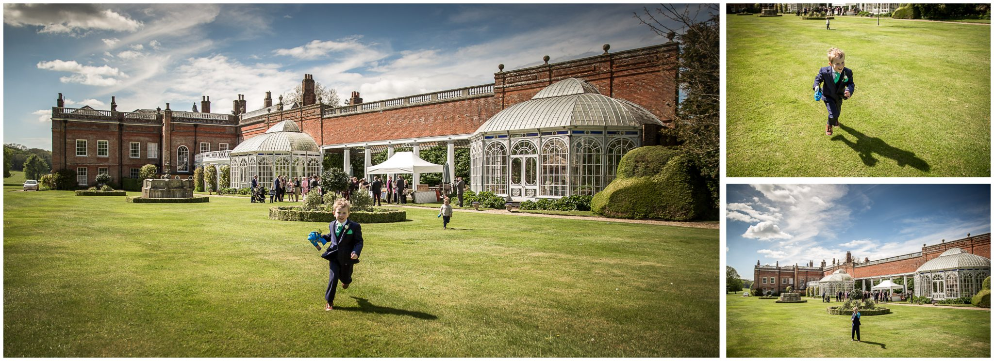 Avington Park wedding photography young guest playing in gardens