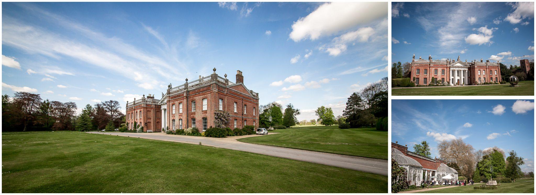 Avington Park wedding photography venue exterior with blue skies