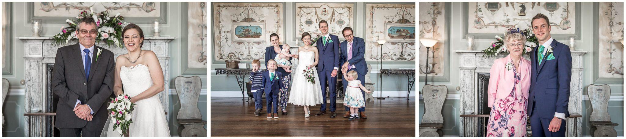 Avington Park wedding photography family photos taken in hall