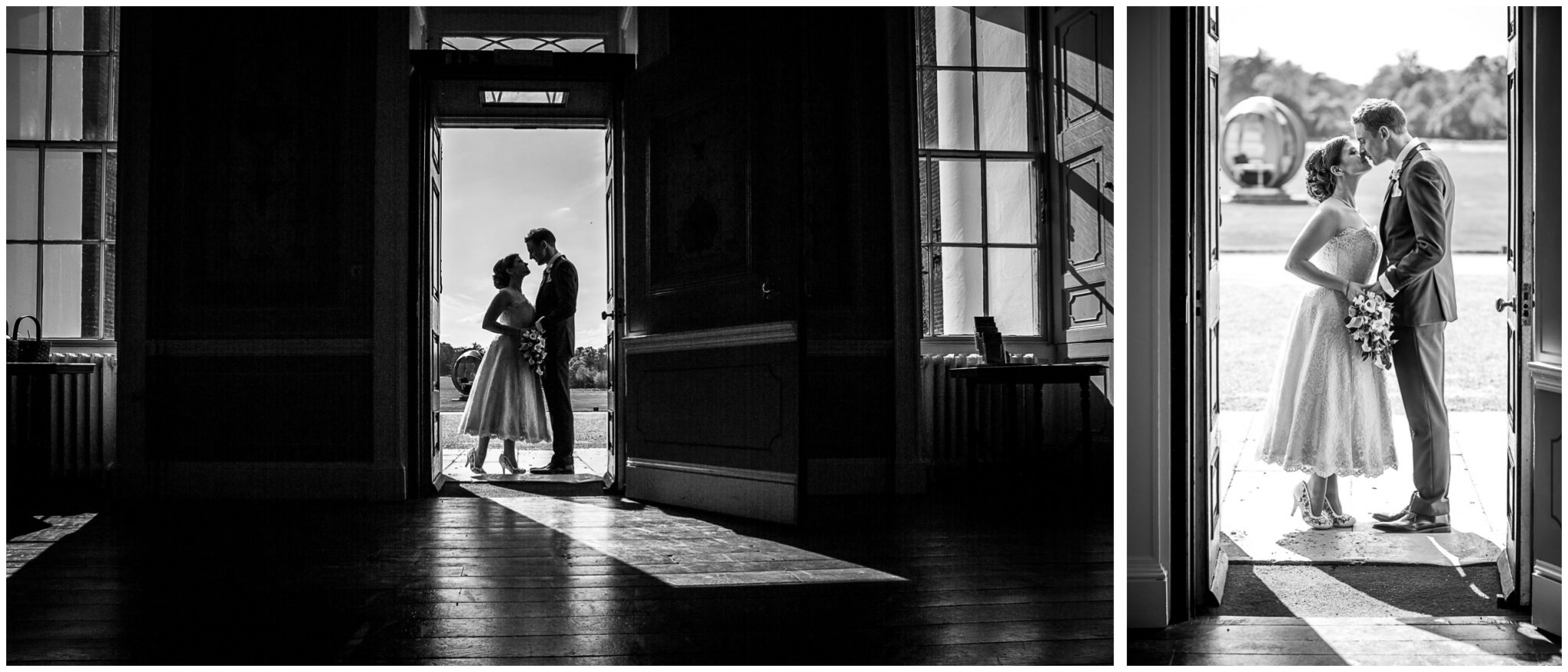 Avington Park wedding photography black and white silhouette in entrance