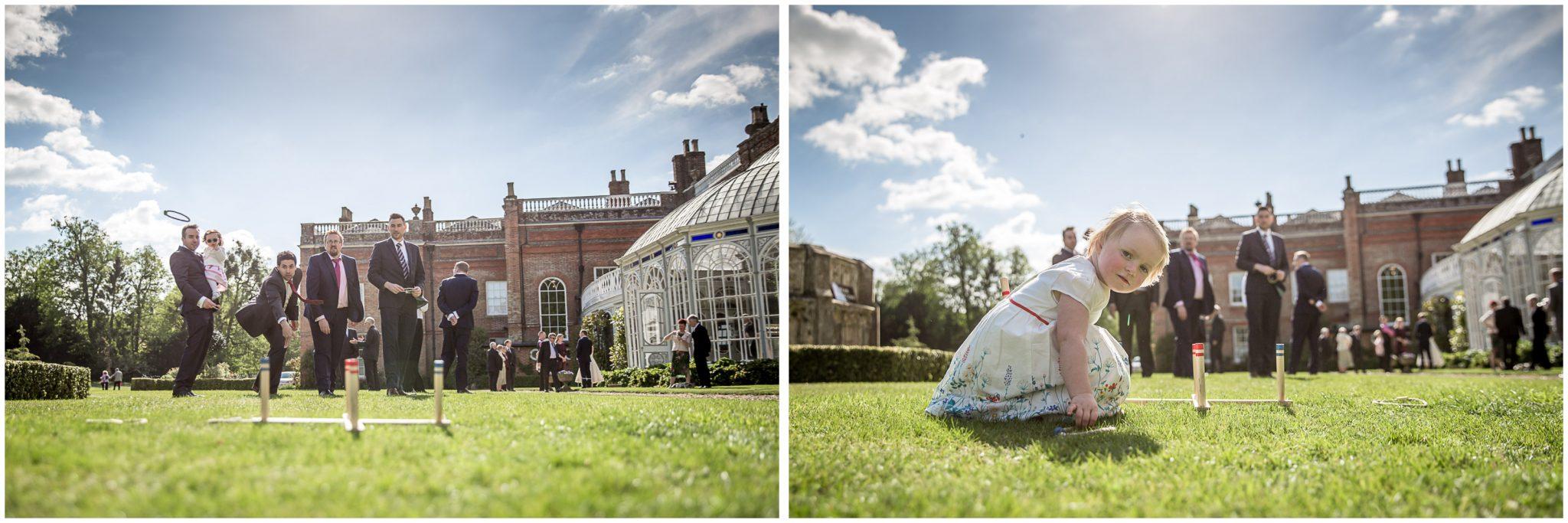 Avington Park wedding photography guests playing garden games