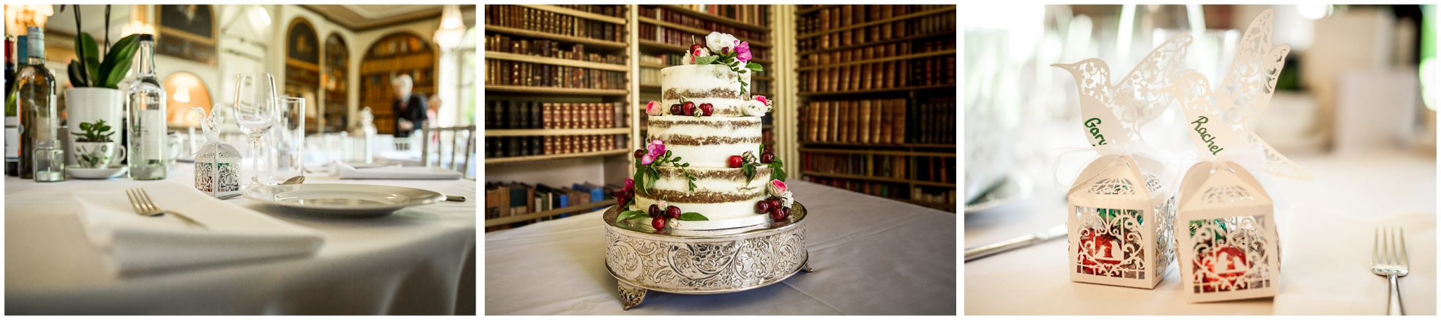 Avington Park wedding photography cake and table details