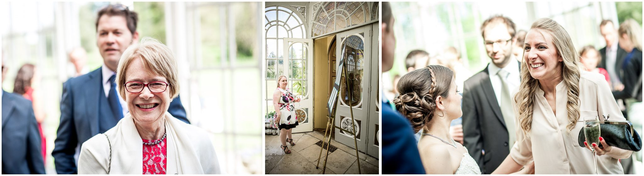Avington Park wedding photography guests in orangery