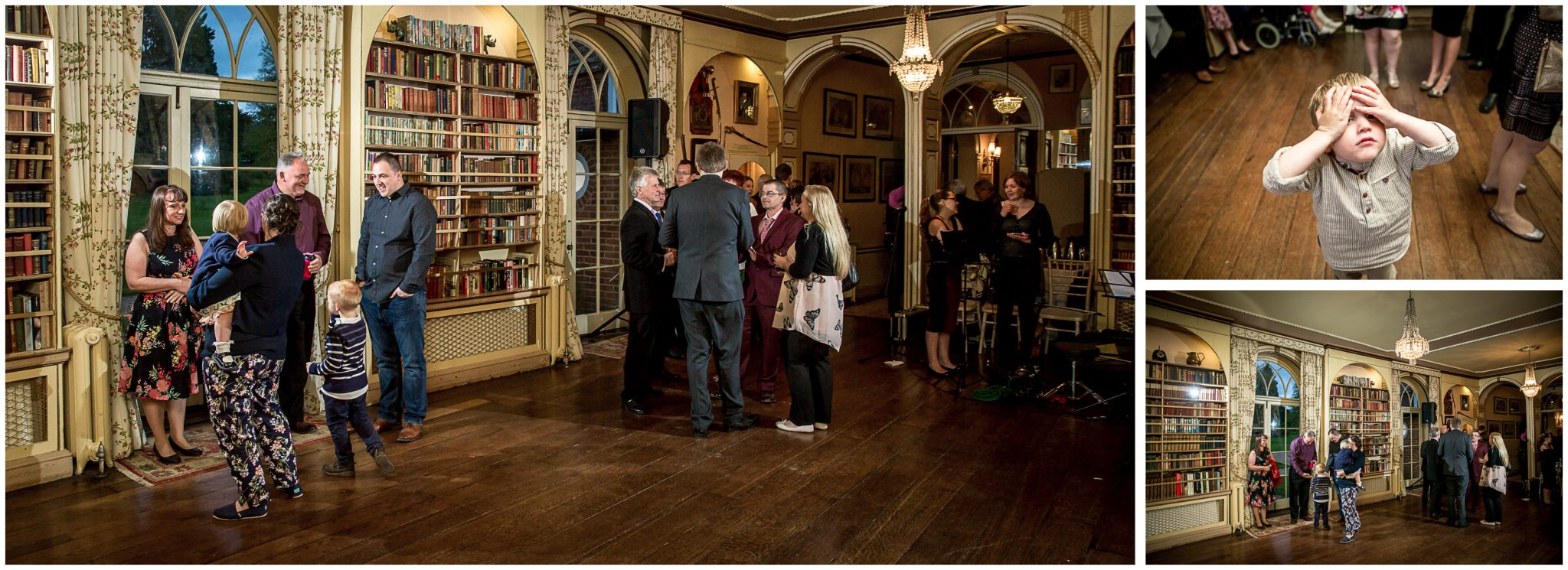 Avington Park wedding photography guests assemble in library
