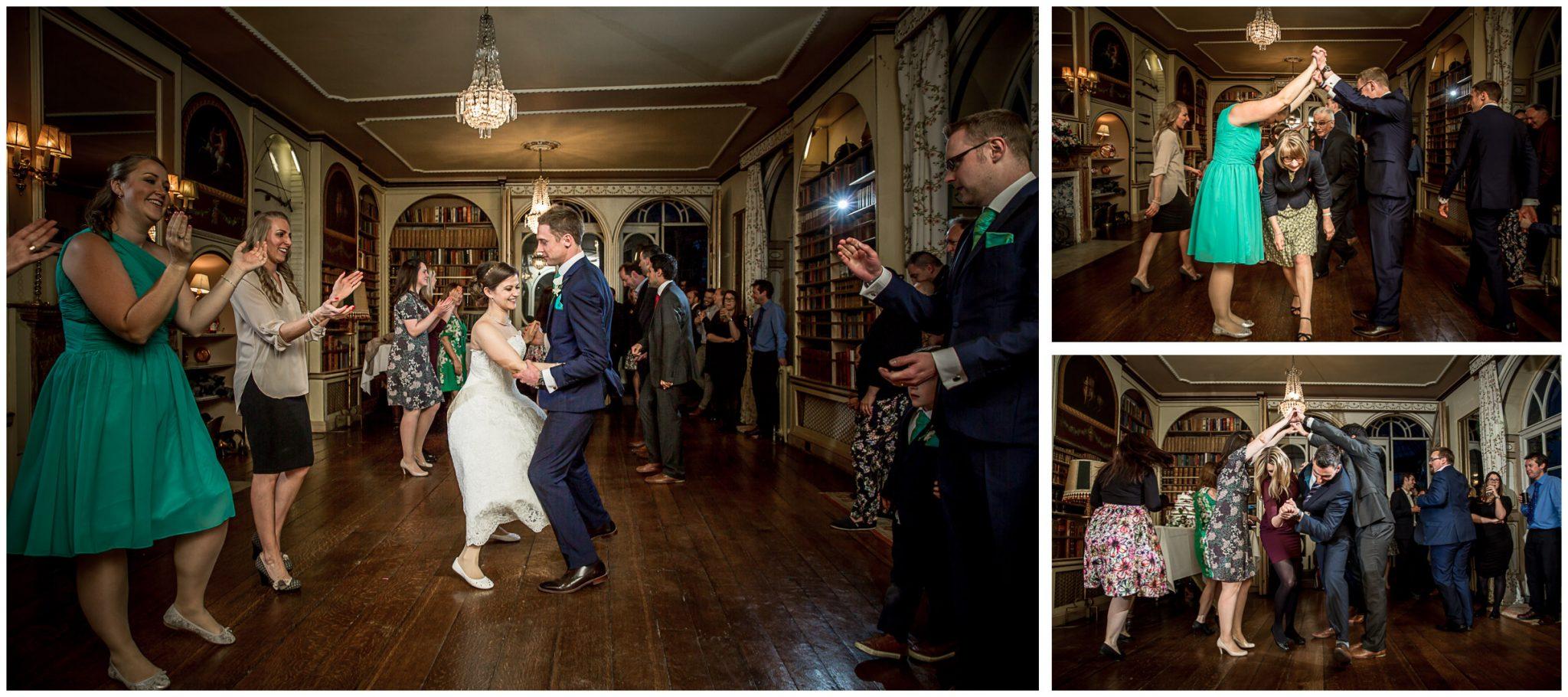 Avington Park wedding photography guests dance ceilidh