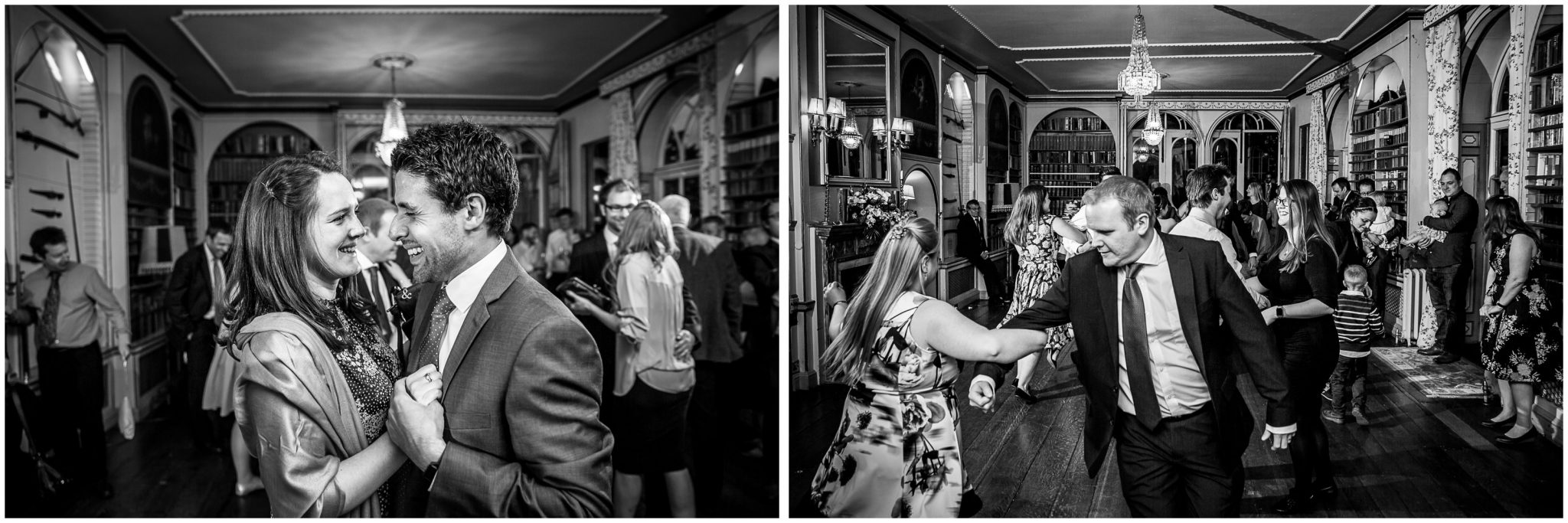 Avington Park wedding photography black and white guests dancing