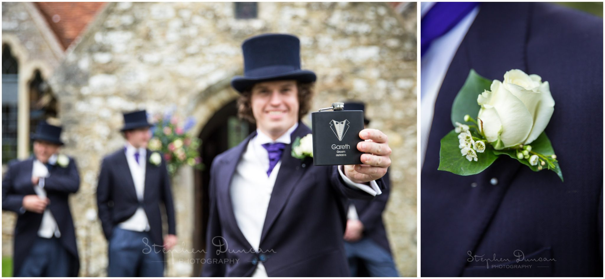 Lymington wedding photography groom outside boldre church